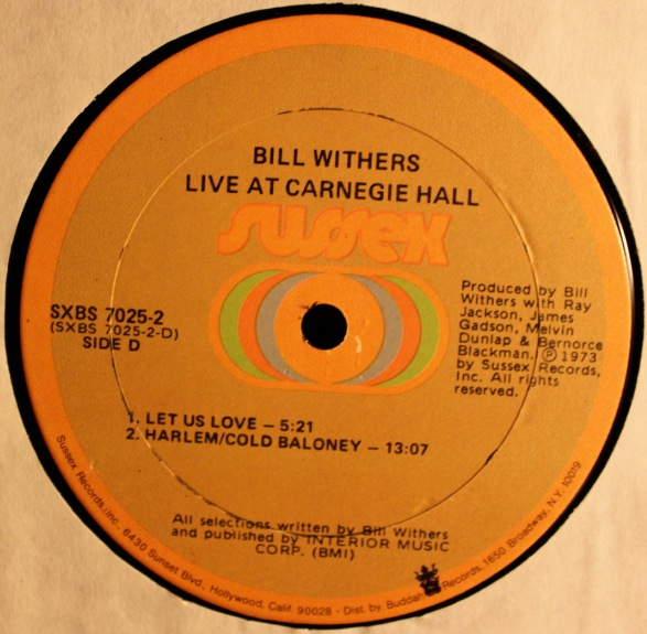 Bill Withers Live At Carnegie Hall Sussex Test Pressing