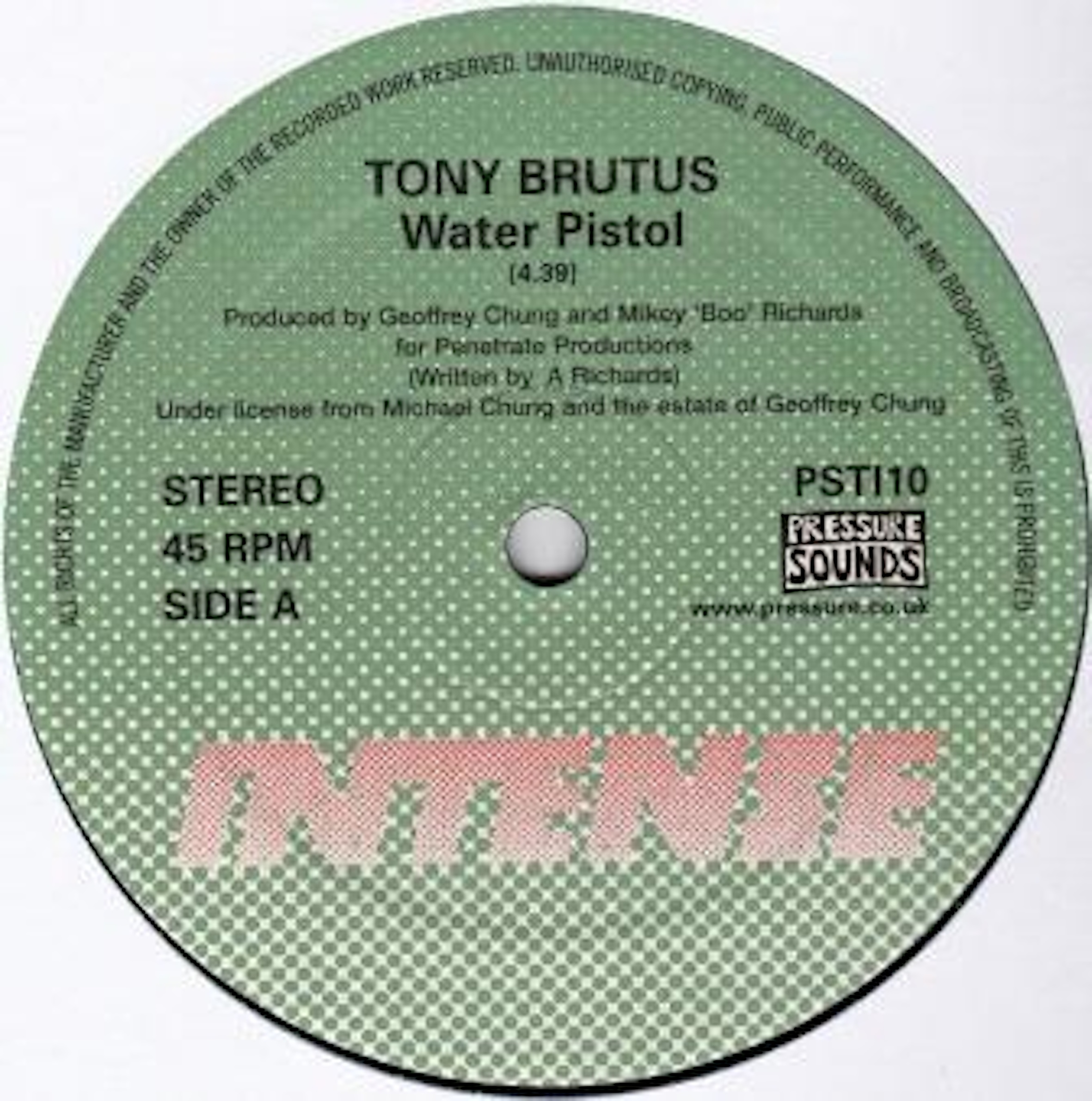 Tracks, On The Rebound, Tony Brutus, Test Pressing, Dr Rob, Pressure Sounds, Water Pistol, Intense