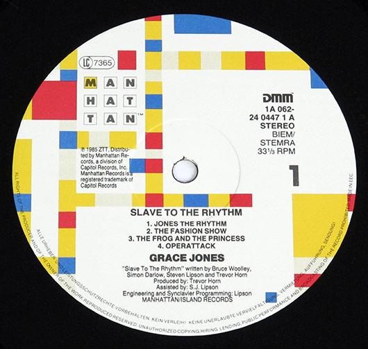 Grace Jones, Slave To The Rhythm, Label, Manhattan, Records Paula Scher