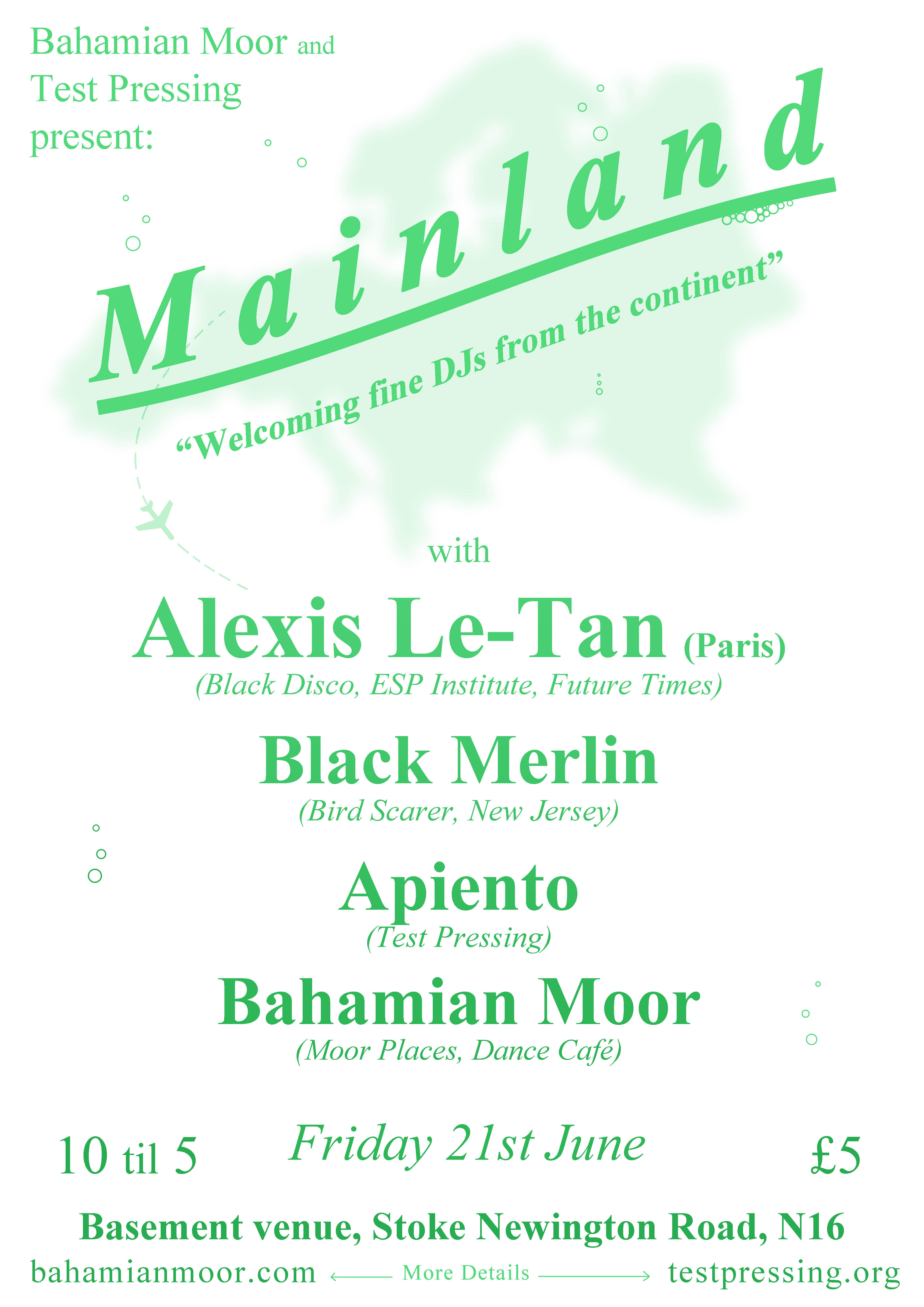 Alexis Le-Tan, Bahamian Moor, Apiento, Black Merlin, Party