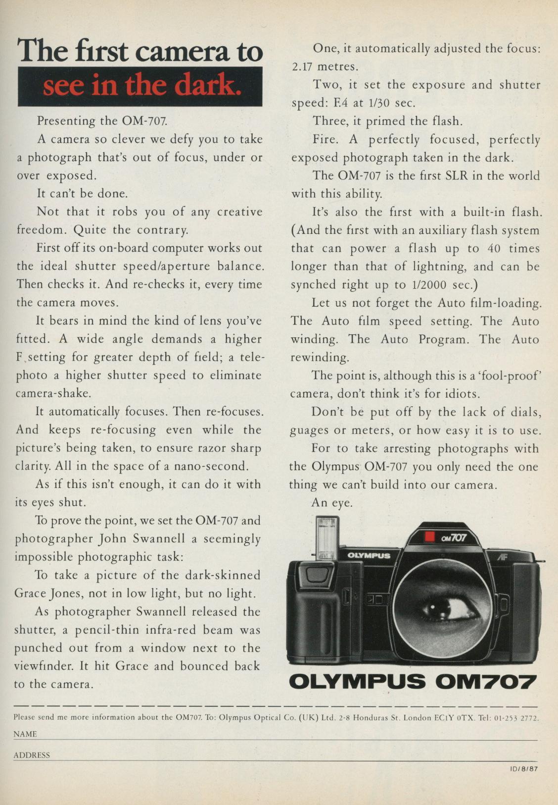 Grace Jones, Olympus, OM707, Advert, i-D, 1987