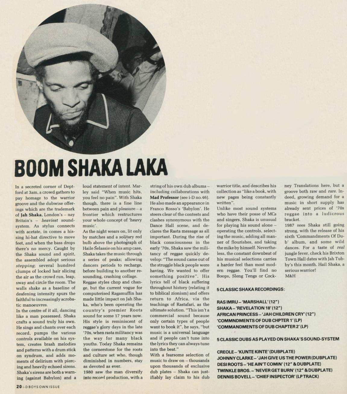 JAH SHAKA, i-D Magazine