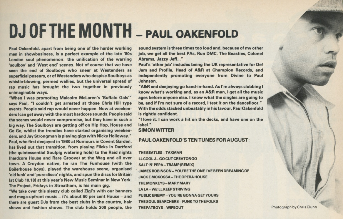 i-D, August, 1987, Magazine, Paul Oakenfold, DJ,