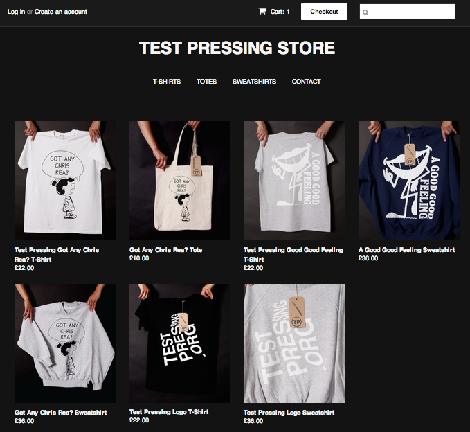 Test Pressing Store, T-Shirts, sweatshirts, totes, records
