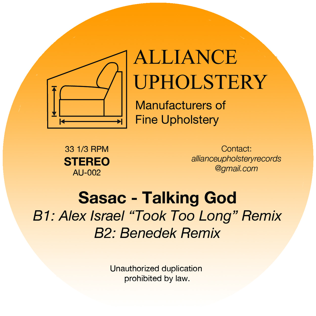 Sasac, Talking God, Alliance Upholstery, Alex Israel, Eddie C, Benedek, Dr Rob, Review, Test Pressing