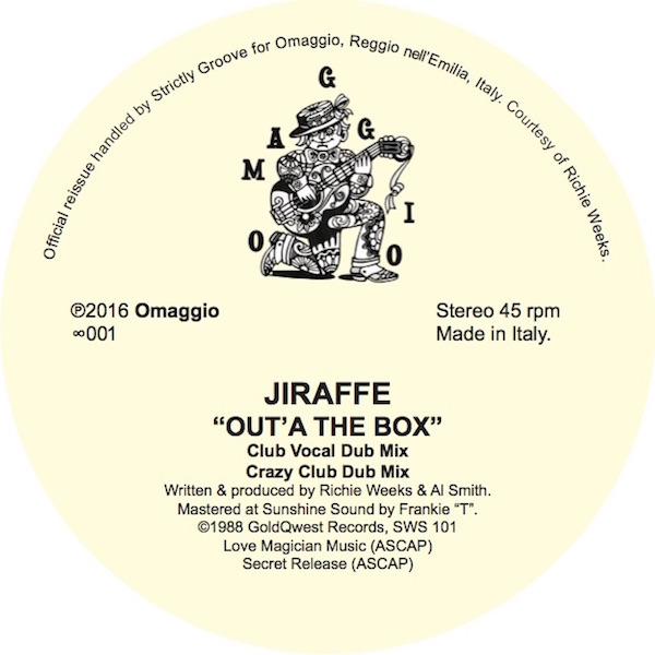 Jiraffe, Out`A The Box, OMAGGIO, Dr Rob, Test Pressing, Italy, Richie Weeks, Review, Marco Febbraro