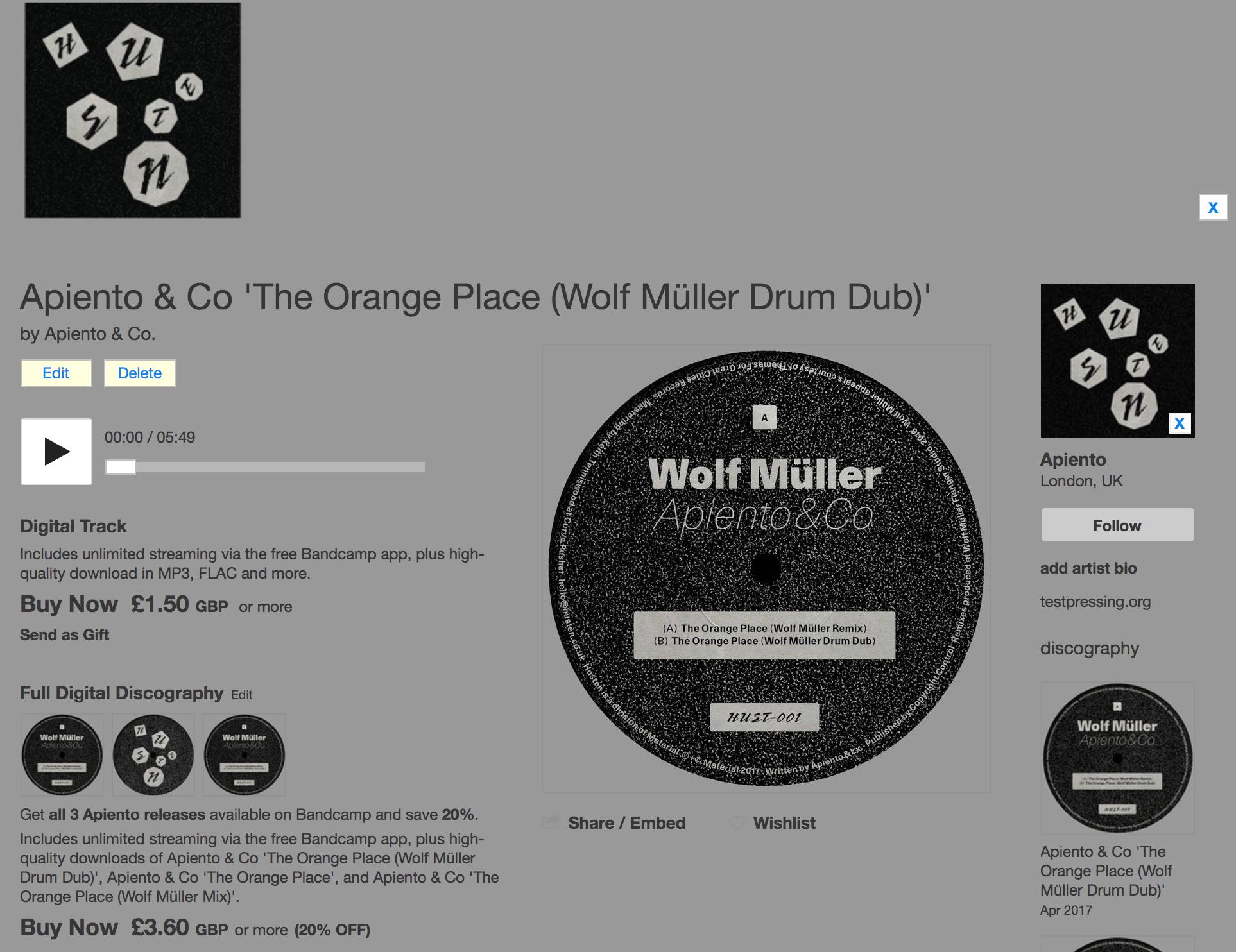 Apiento, Husten, Wolf Müller, Remix, Orange Place, Apiento & Co, Test Pressing