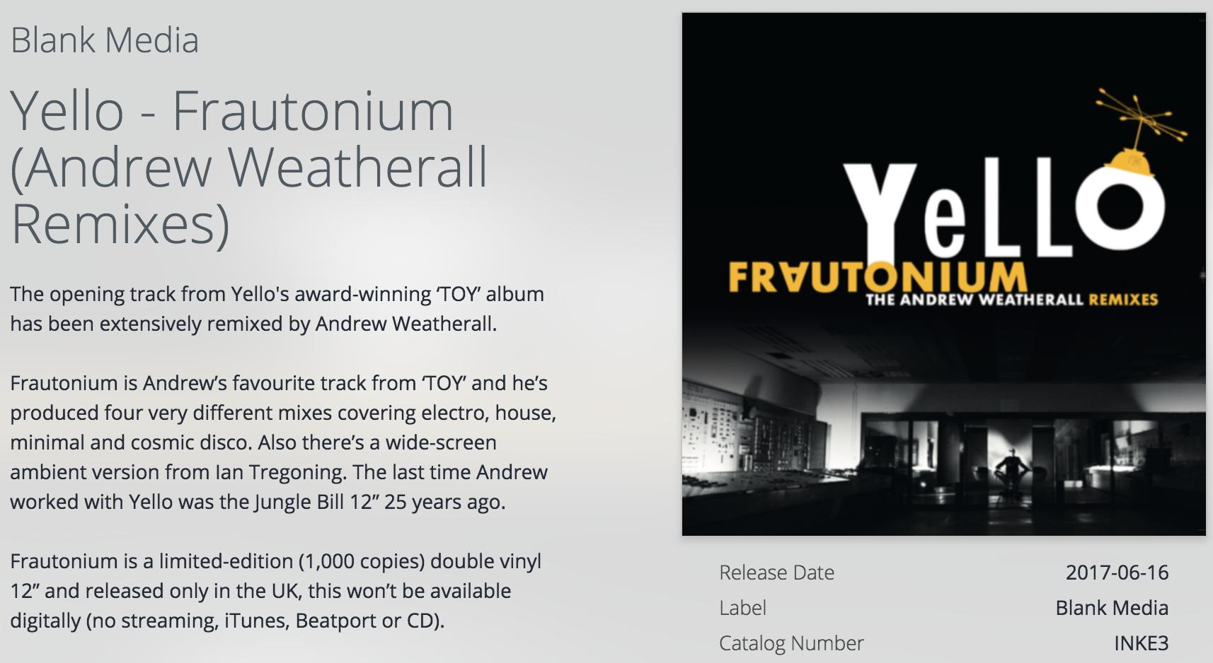 Andrew Weatherall, Yello, Remixes,