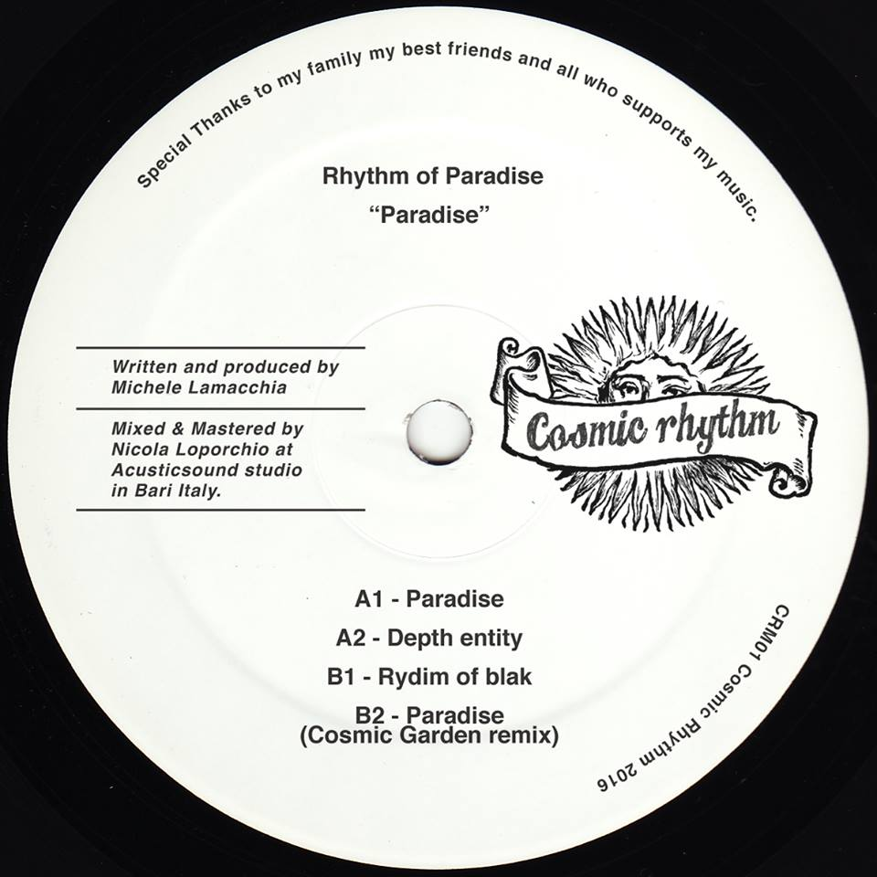 Cosmic Rhythm Records, Rhythm Of Paradise, Label, Italy, House, Test Pressing