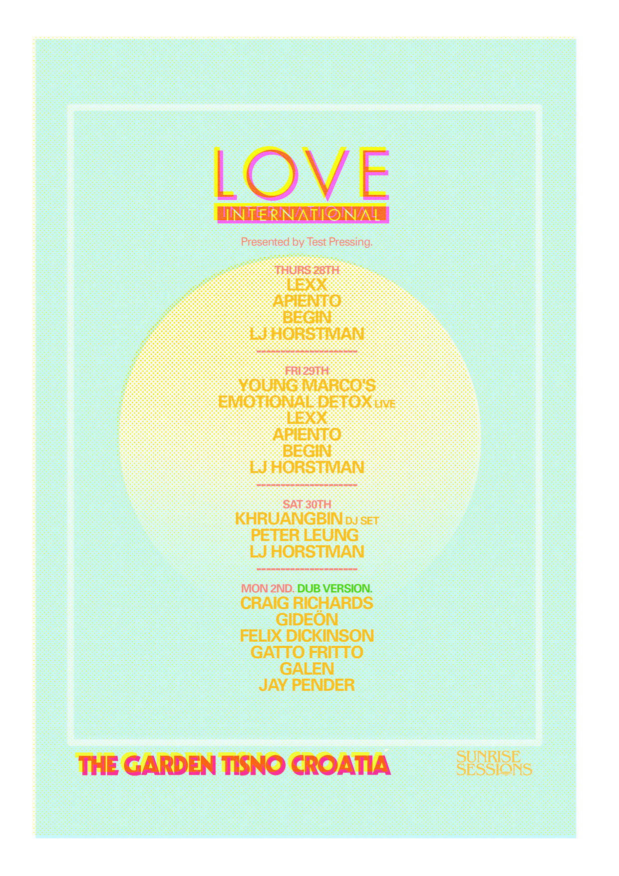Love International, Craig Richards, Felix Dickinson, Morning, Sessions, Test Pressing, Begin, Young Marco, Lexx, LJ Horstman,